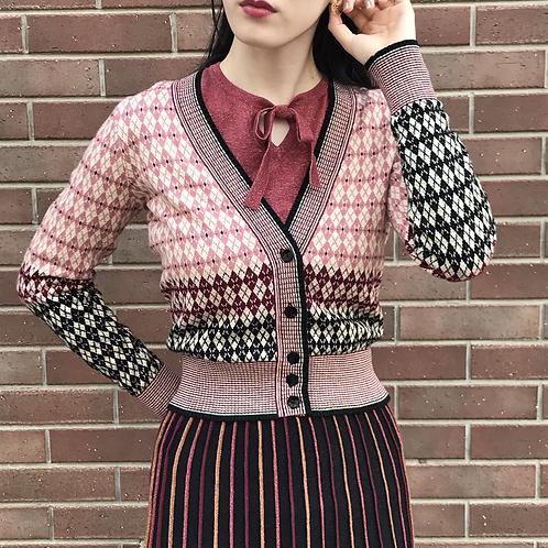 dusty rose knit cardigan