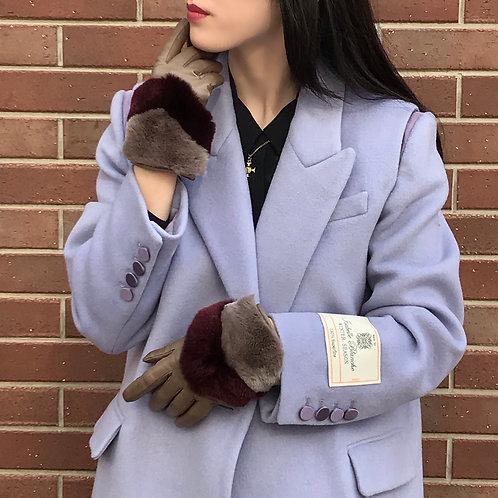 fur leather gloves (griege)