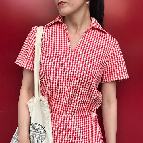 gingham check tops(red)