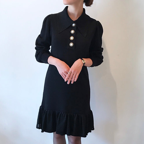 virgin wool knit dress[black]