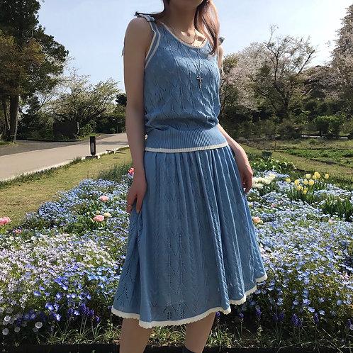 macaron blue cotton knit skirt