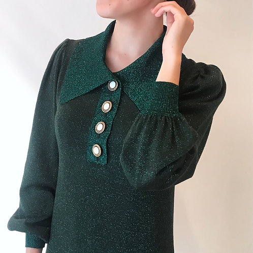 virgin wool  knit dress[billiard green]