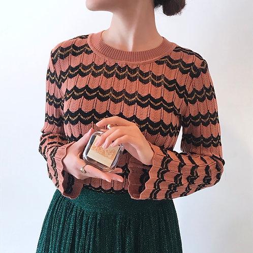 wave pattern knit[apricot orange×black]