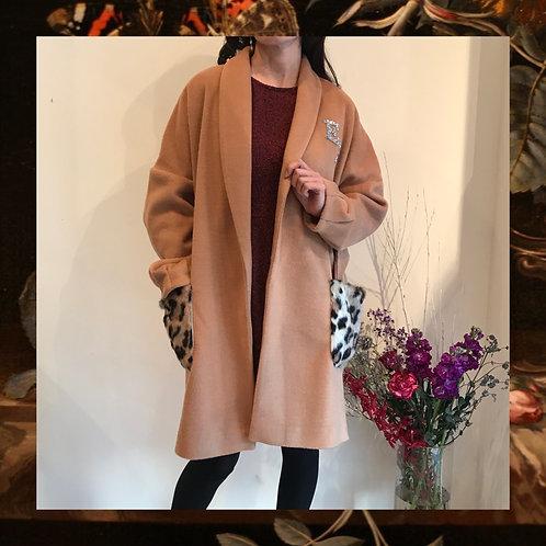 camel  shawl collar coat