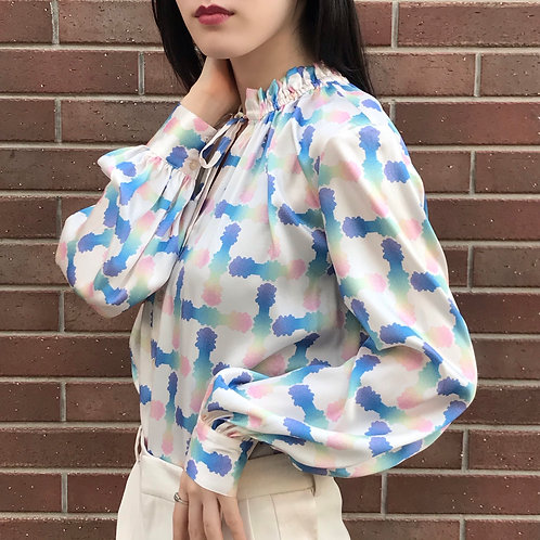 milky ribbonted blouse