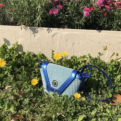 blue rose leather bag