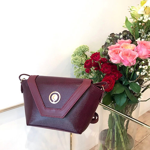 bordeaux leather mini bag