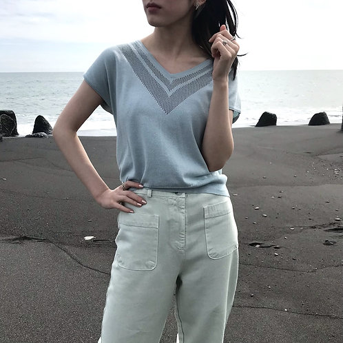 sea blue cotton knit tops