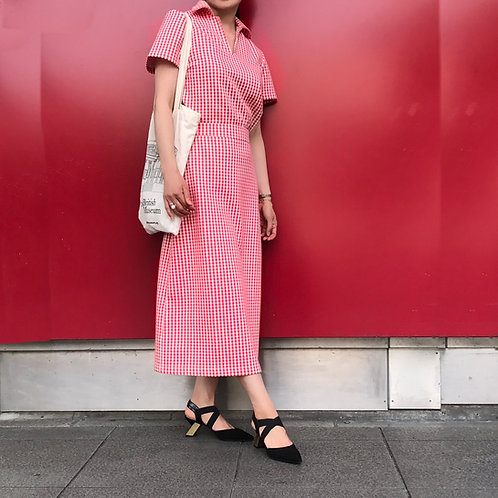 gingham check skirt(red)