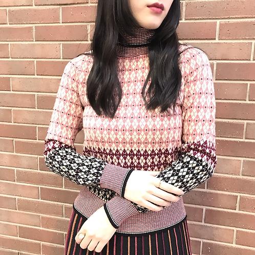 dusty rose knit tops