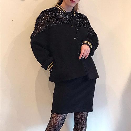 black cashmere blouson