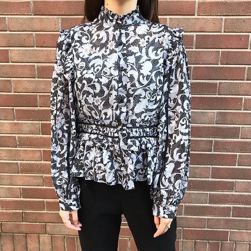 paisley printed blouse(black)