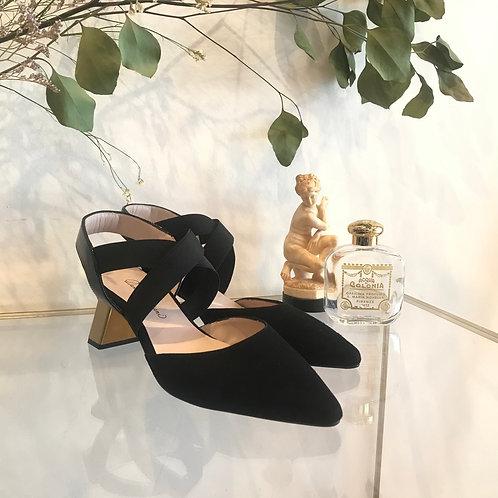 black swede sandals