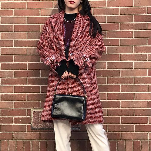 belted mix color coat