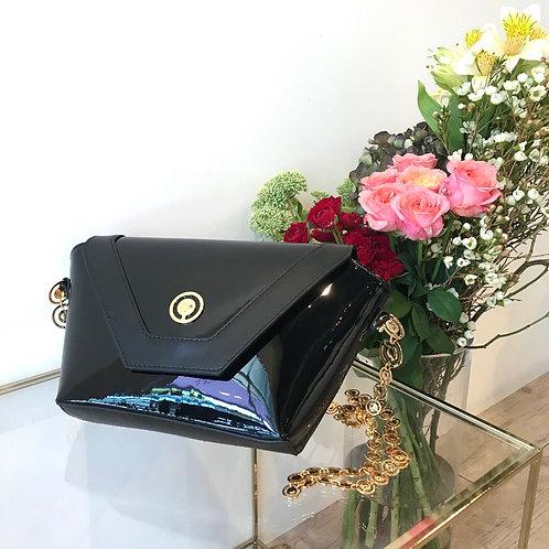 black enamel bag