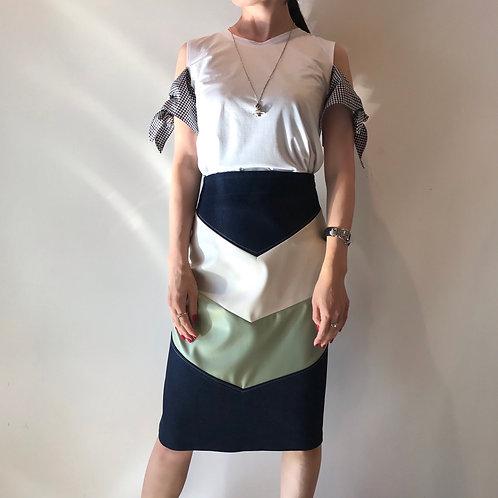 mix denim skirt