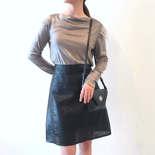 black metallic skirt