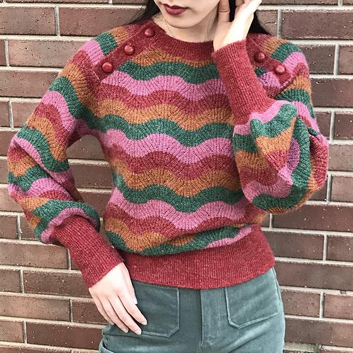 80s wave pattern knit