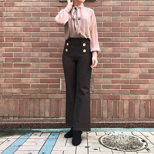 stretch wide pants(brown)