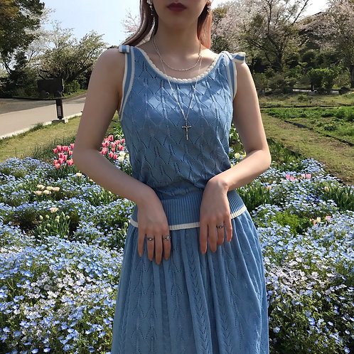 macaron blue cotton knit top