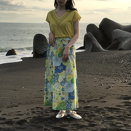 lime flower print skirt