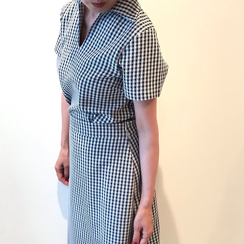 gingham check tops(navy)