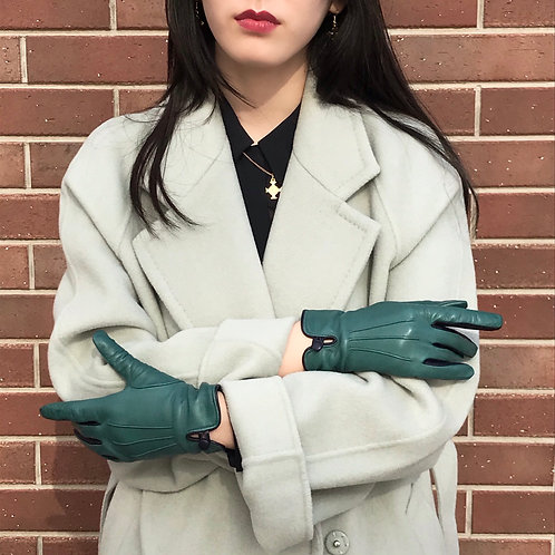 emerald green leather gloves