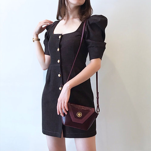 square neck mini dress(bordeaux)