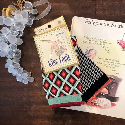 vintage style socks(2packs/06094)
