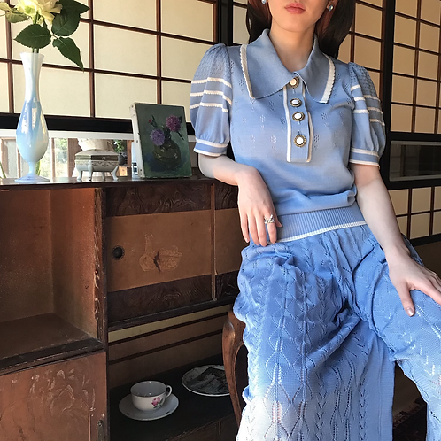 macaron blue cotton tops