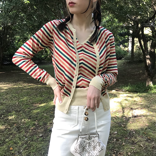 60s retro strip cardigan