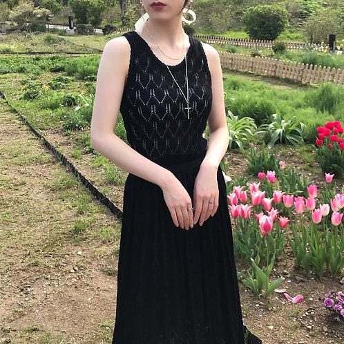 black cotton knit dress