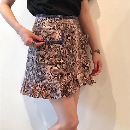 python fake leather miniskirt
