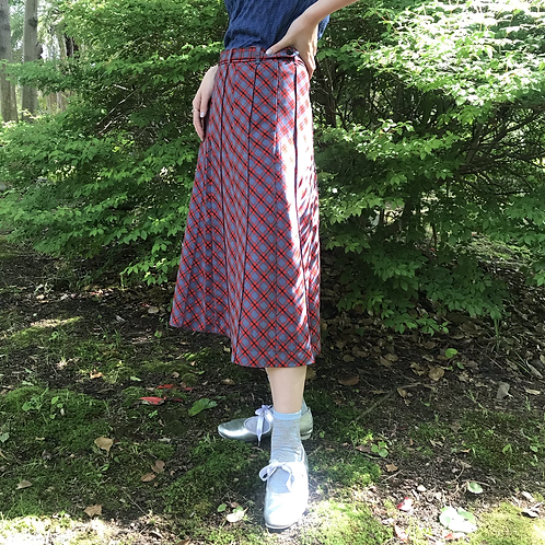 british checked skirt