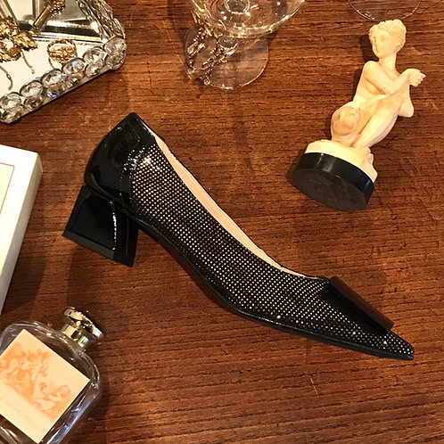 metallic black shoes