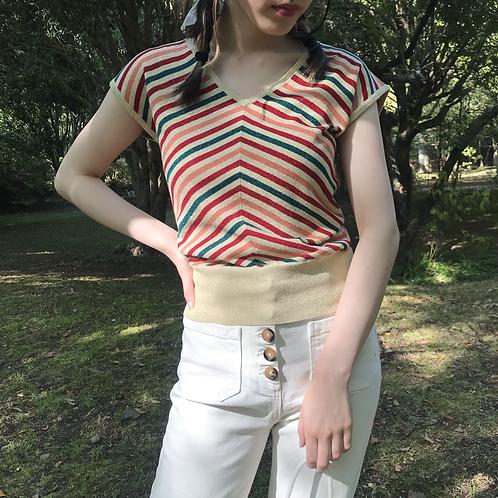 60s retro stripe tops