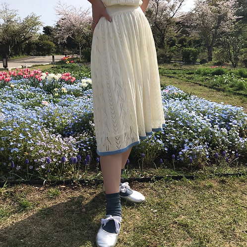 milk cotton knit skirt