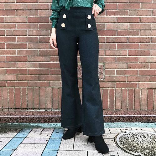 stretch wide pants(navy blue)