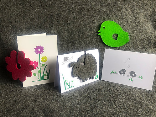 Cards with coaster - pack of 3 mixed designs