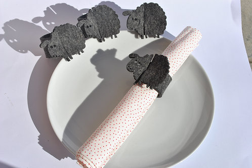 Napkin Rings Sheep Design Grey