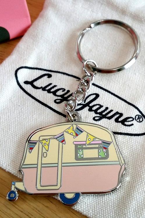 Vintage Caravan Key Chain Blush Pink