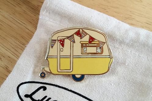 Vintage Caravan Brooch Daffodil Yellow