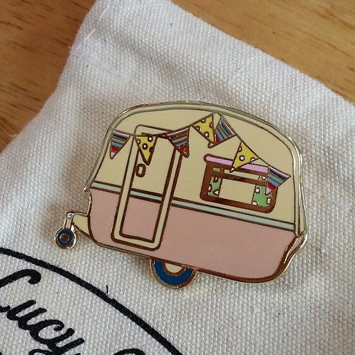 Vintage Caravan Brooch Blush Pink