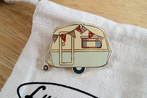 Vintage Caravan Brooch Apple Green