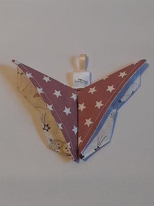 Papillon origami étoiles rose 1p.