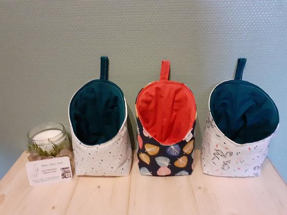 Trio de paniers de rangement bleu-corail