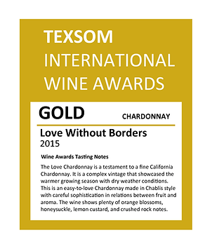 """Gold Medal Award for """"Love without borders"""" Chardonnay by Sjoeblom Winery"""