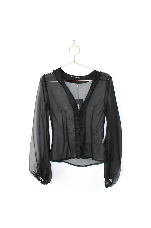 Pretty Little Thing Black Sheer Blouse Size 2
