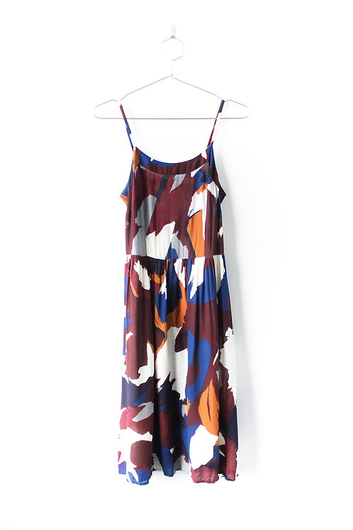 LOFT Patterned Midi Dress Size 2