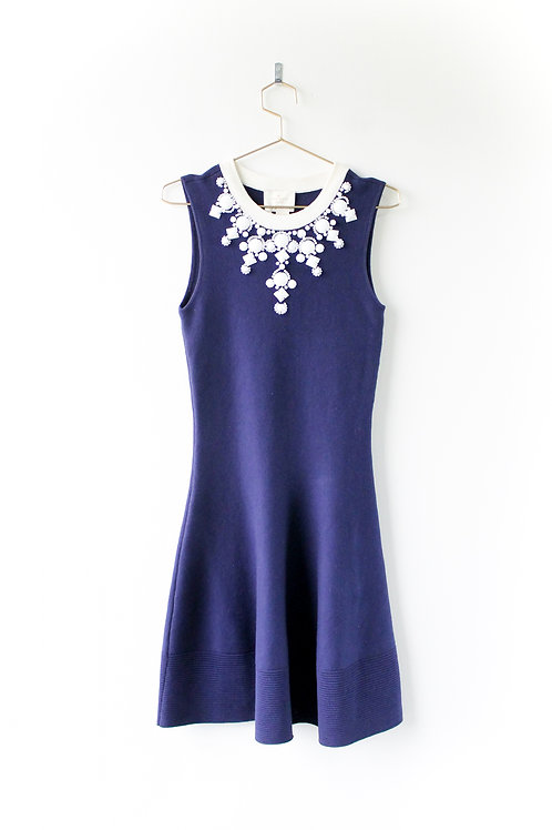 Kate Spade Navy Knit Dress With Beaded Neckline NWT Size Small